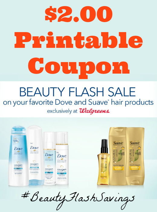 $2.00 Printable Coupon for Dove and Suave® Hair products at Walgreens
