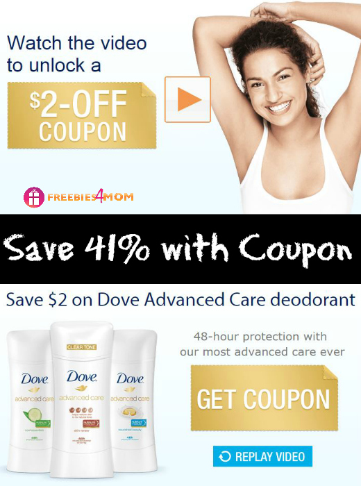 $2.00 Dove Advanced Care Deodorant Coupon (Save 41%)