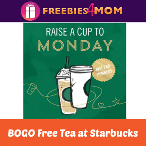 BOGO Free Tea at Starbucks Today 2-5 PM