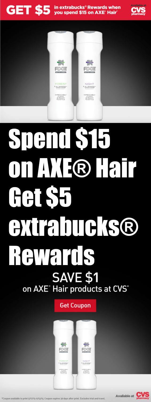 AXE® Hair Deal at CVS ~ $1 Coupon + $5 extrabucks® Rewards