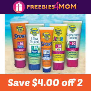 Save $4.00 off 2 Banana Boat Sun Care Products