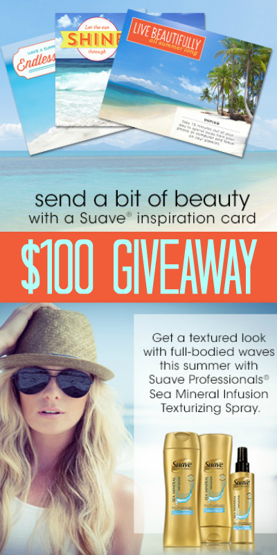$100 Visa Gift Card Giveaway ~ Suave Professionals® Sea Mineral Infusion