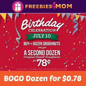 BOGO Krispy Kreme Dozen for $0.78