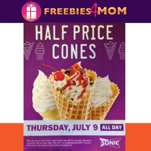 Sonic 1/2 Price Cones July 9