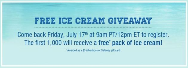 Free Ice Cream at 11am CT *First 1,000*