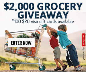 $2,000 Grocery Giveaway (100 winners of $20 Visa gift card)
