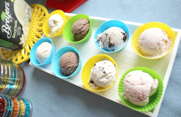 Ice Cream serving idea: ice cream scoops served in silicone baking cups on tray
