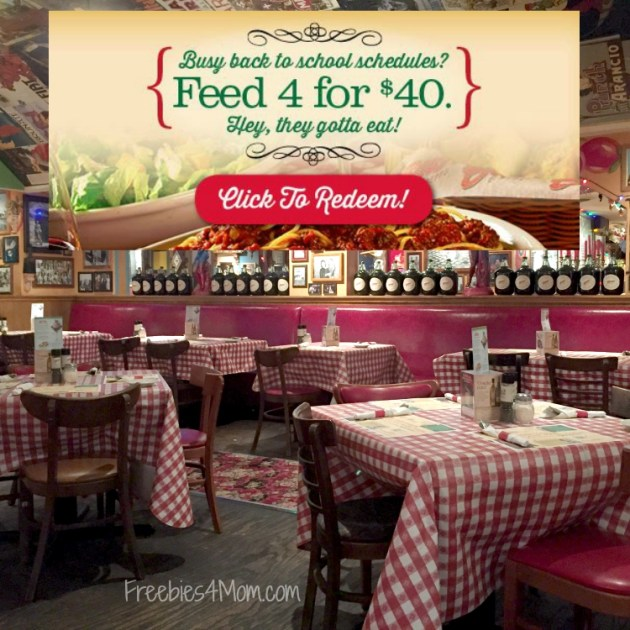 Feed 4 for $40 Buca di Beppo printable coupon