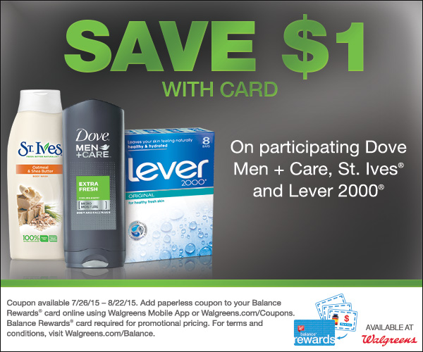 Walgreens Coupons for St. Ives, Dove Men+Care and Lever 2000