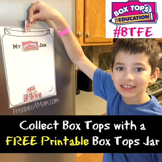 Collect Box Tops for Education with a free printable Box Tops collection jar