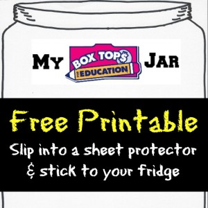 free printable Box Tops for Education Collection Jar