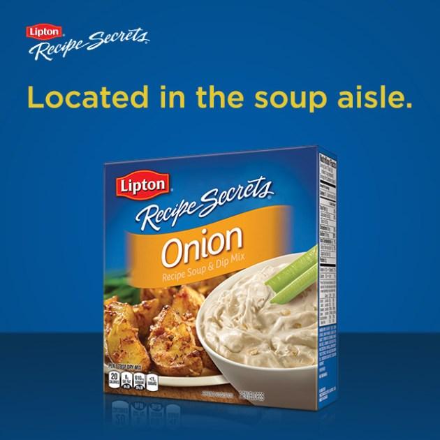 Lipton Recipe Secrets located in the soup aisle