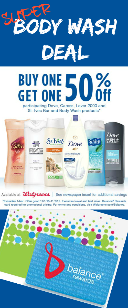Walgreens Body Wash Deal: Buy One, Get One 50% off