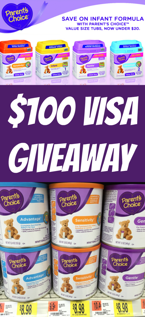 $100 Visa Gift Card Sweepstakes ~ Parent's Choice at Walmart