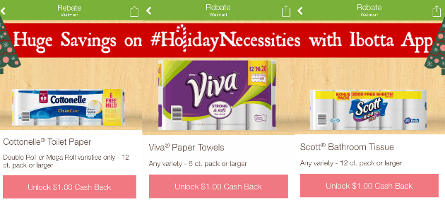 Get Cash Back with Free Ibotta App and Save on #HolidayNecessities at Walmart