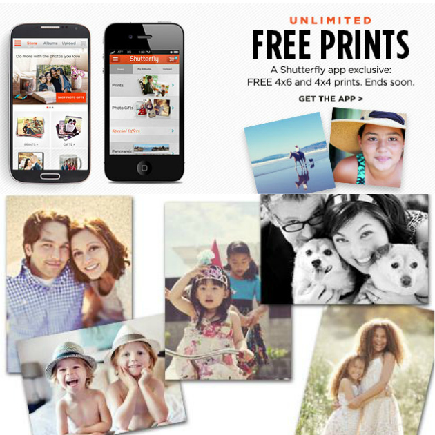 Free unlimited 4x4 and 4x6 Prints from Shutterfly