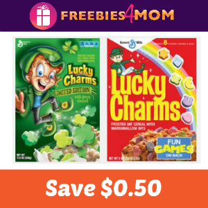 Coupon: Save $0.50 on one Lucky Charms