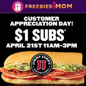 $1 Subs at Jimmy Johns April 21