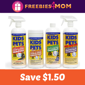 Coupon: $1.50 off Kids 'N Pets Cleaning Products