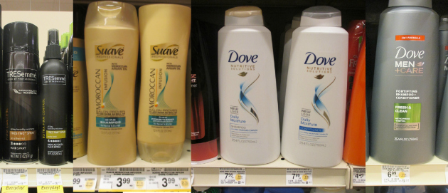 TRESemme, Suave and Dove hair care at Safeway