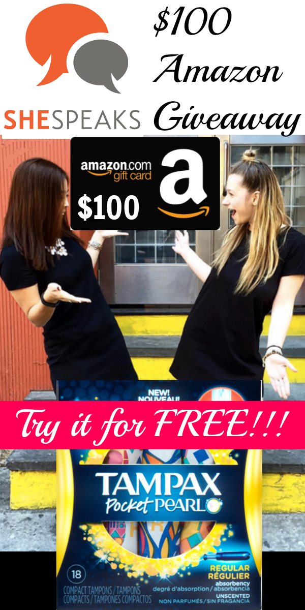 $100 Amazon Gift Card Giveaway ~ Free Tampax Pocket Pearl from SheSpeaks