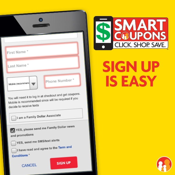 Sign Up is Easy for Smart Coupons at Family Dollar