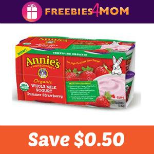 $0.50 off Annie's Organic Yogurt Tubes or Cups