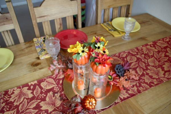 Fall Centerpiece made with supplies from Family Dollar