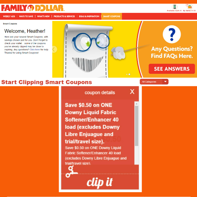 Clip Smart Coupons at Family Dollar