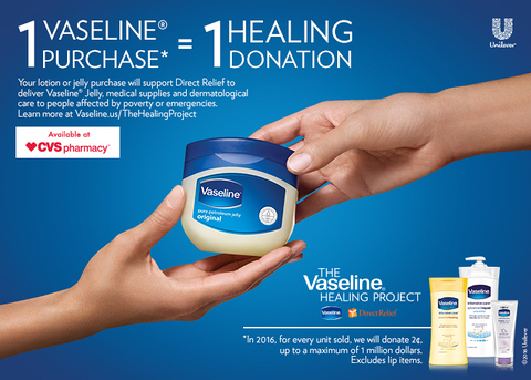 1 Vaseline Purchase = 1 Healing Donation to support Direct Relief