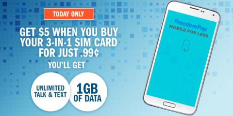 Get 500 SB when you buy a $0.99 SIM card from FreedomPop