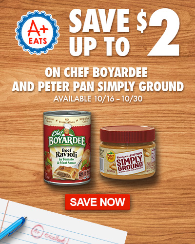 Save up to $2 on Chef Boyardee and Peter Pan Simply Ground peanut butter at Dillons