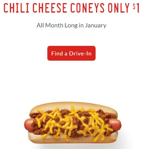 $1 Chili Cheese Coney's at Sonic All Month