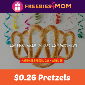$0.26 Pretzels at Pretzelmaker April 26