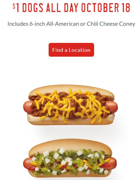 $1 Hot Dogs at Sonic Oct. 18