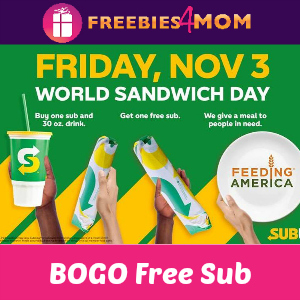 Buy One Sub & Drink Get One Sub Free at Subway