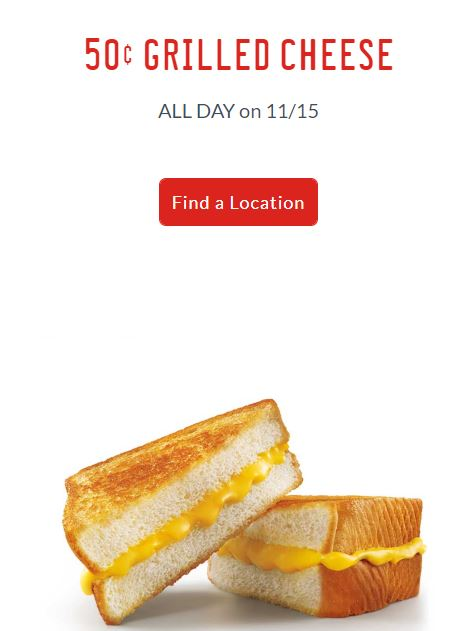 $0.50 Grilled Cheese at Sonic Nov. 15