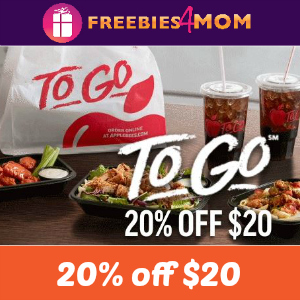 20% off $20+ Applebee's ToGo