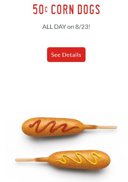 $0.50 Corn Dogs at Sonic August 23