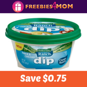 Coupon: Save $0.75 on Hidden Valley Ranch Dip
