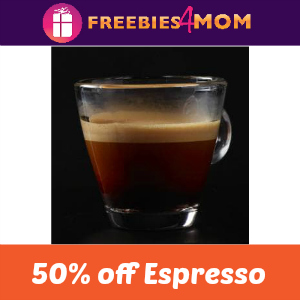 Starbucks 50% off Espresso Starting at 3:00
