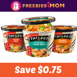 Save $0.75 on one Tai Pei Entrée or Appetizer