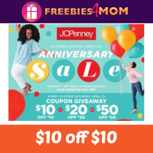 JCPenney $10 off $10 Coupons Saturday