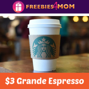 $3 Grande Espresso at Starbucks Today