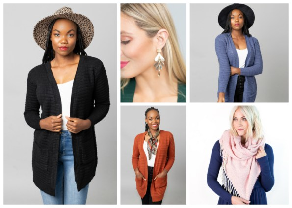 Cardigan, Scarf & Earrings $24.95 ($70 Value)