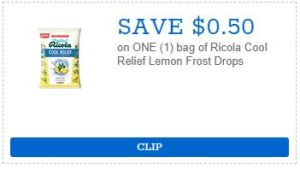 Save $0.50 on Ricola Cool Relief Lemon Frost Drops