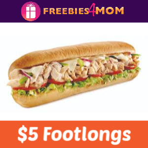 ✋Subway $5 Footlongs When You Buy 2