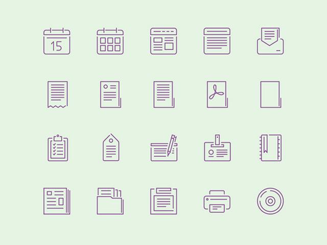 100 stroke icons - AI