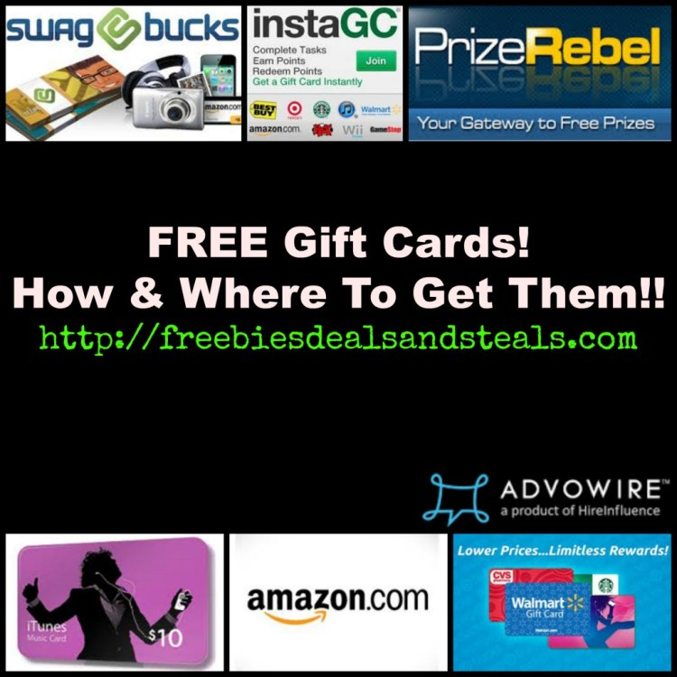 Free Gift Cards How and Where to get them