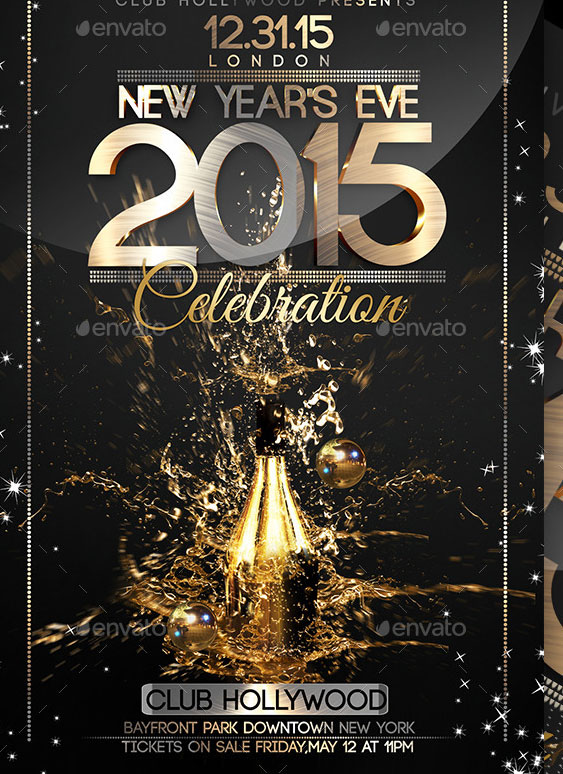 2015 New Year Poster PSD Templates     Design Freebies Happy New Year